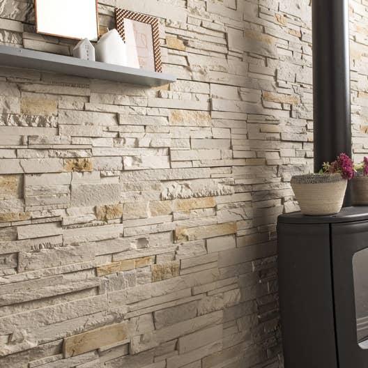 Plaquette de parement b ton beige nuanc santorin leroy - Briquette decoration interieur ...