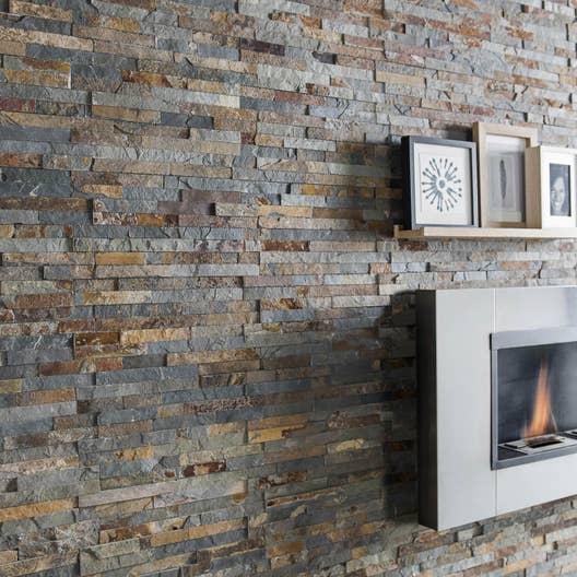 plaquette de parement pierre naturelle multicolore magrit. Black Bedroom Furniture Sets. Home Design Ideas