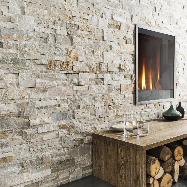 Idee Deco Pierre De Parement Interieur plaquette de parement pierre naturelle beige / gris elegance