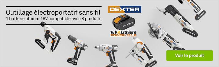 Plateforme outils électroportatif DEXTER 18V : 1 batterie pour 8 outils