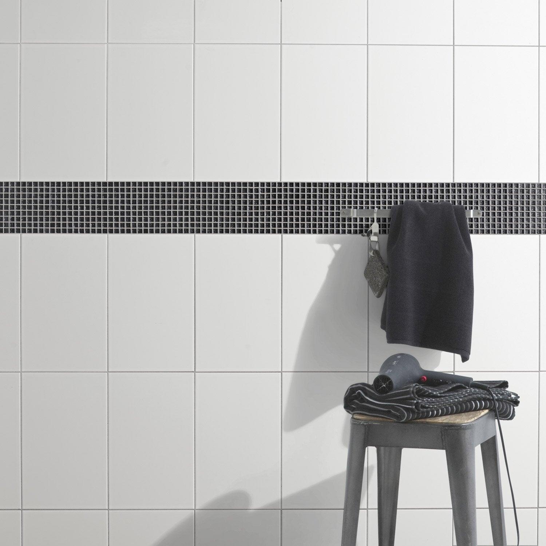 Faïence mur uni blanc brillante l.25 x L.40 cm