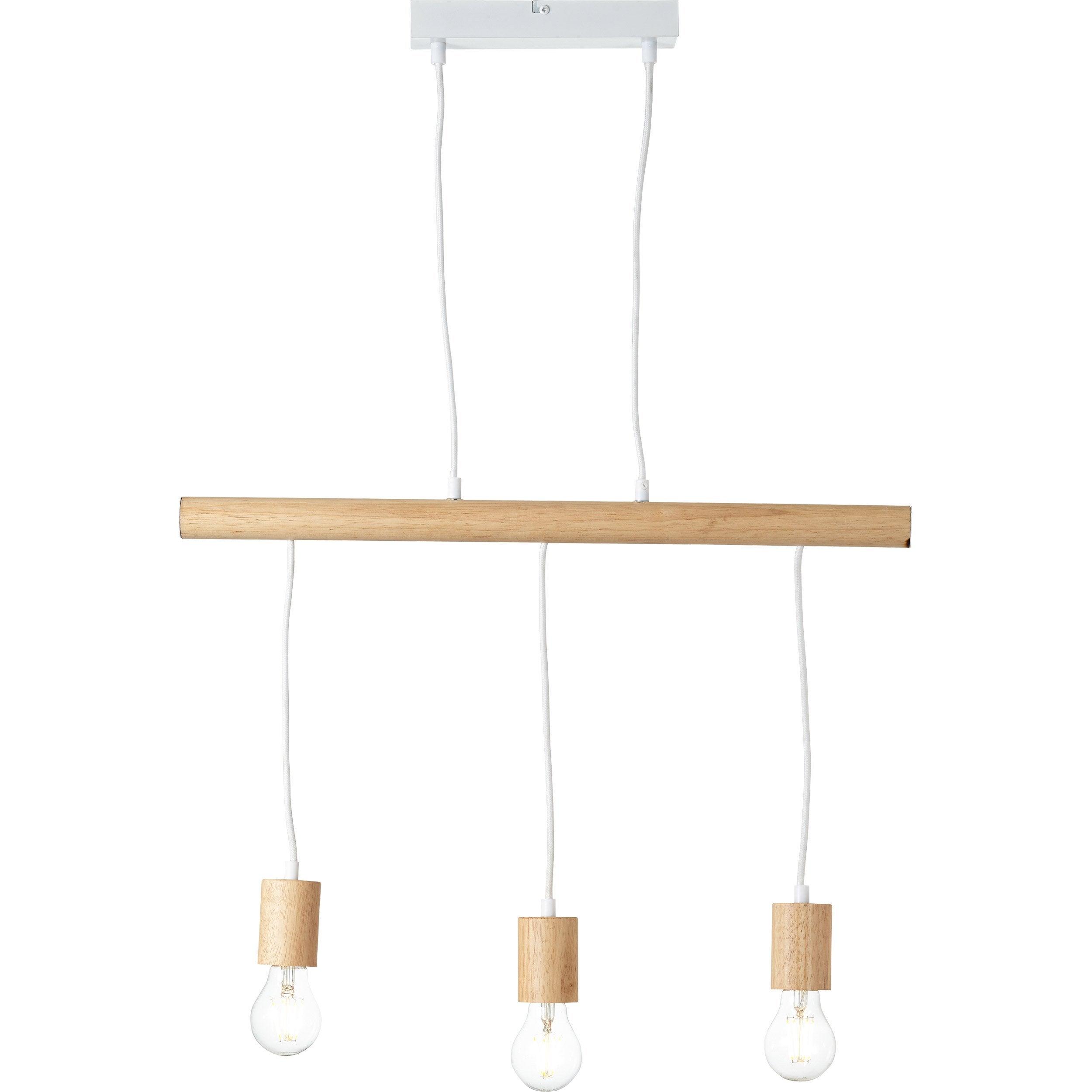 Suspension métal blanc et bois BRILLIANT BO LIGHT 3 lumière(s)