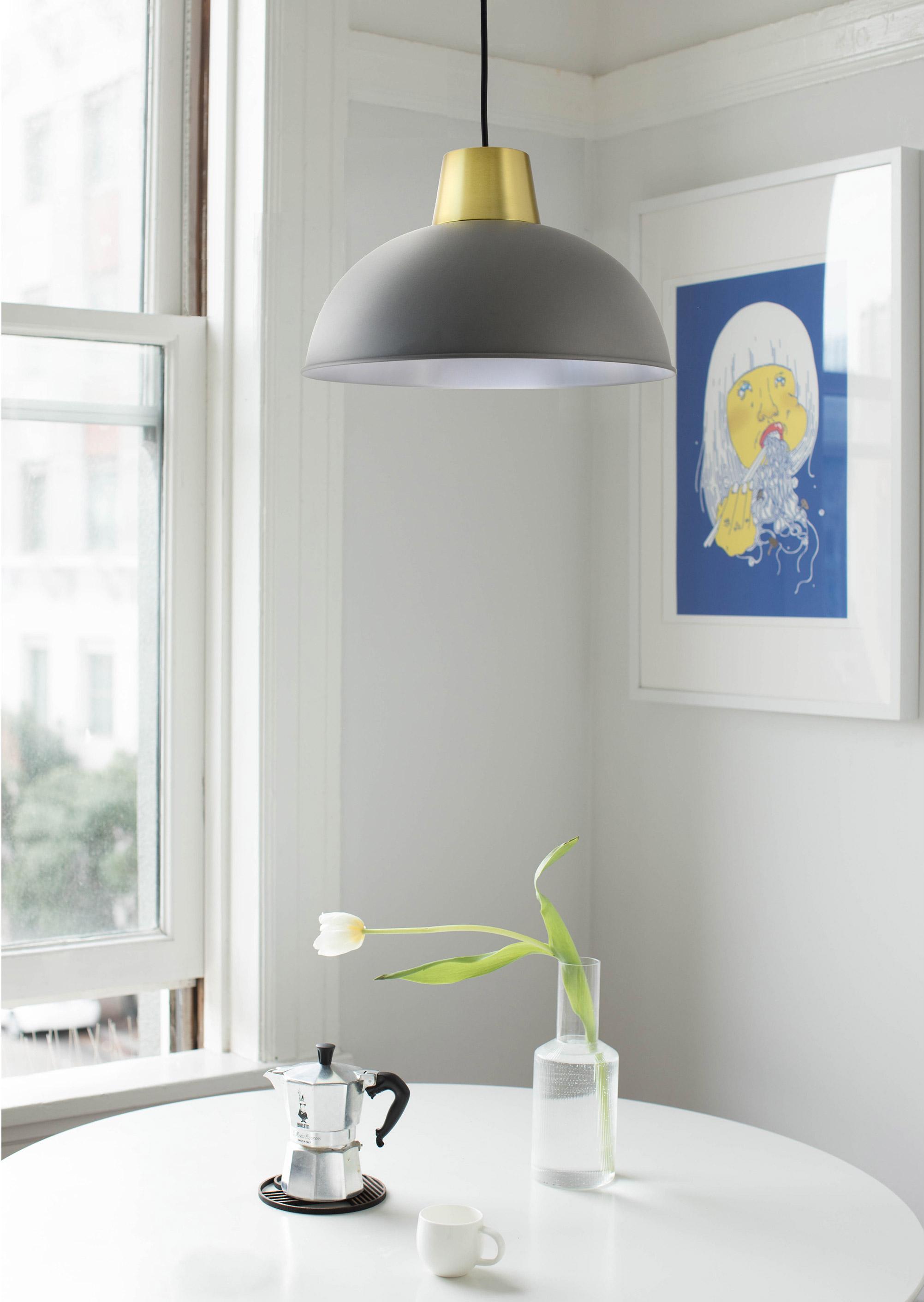 Suspension, charme métal gris/laiton BOUDET Marsdor 1 lumière(s) D.31 cm