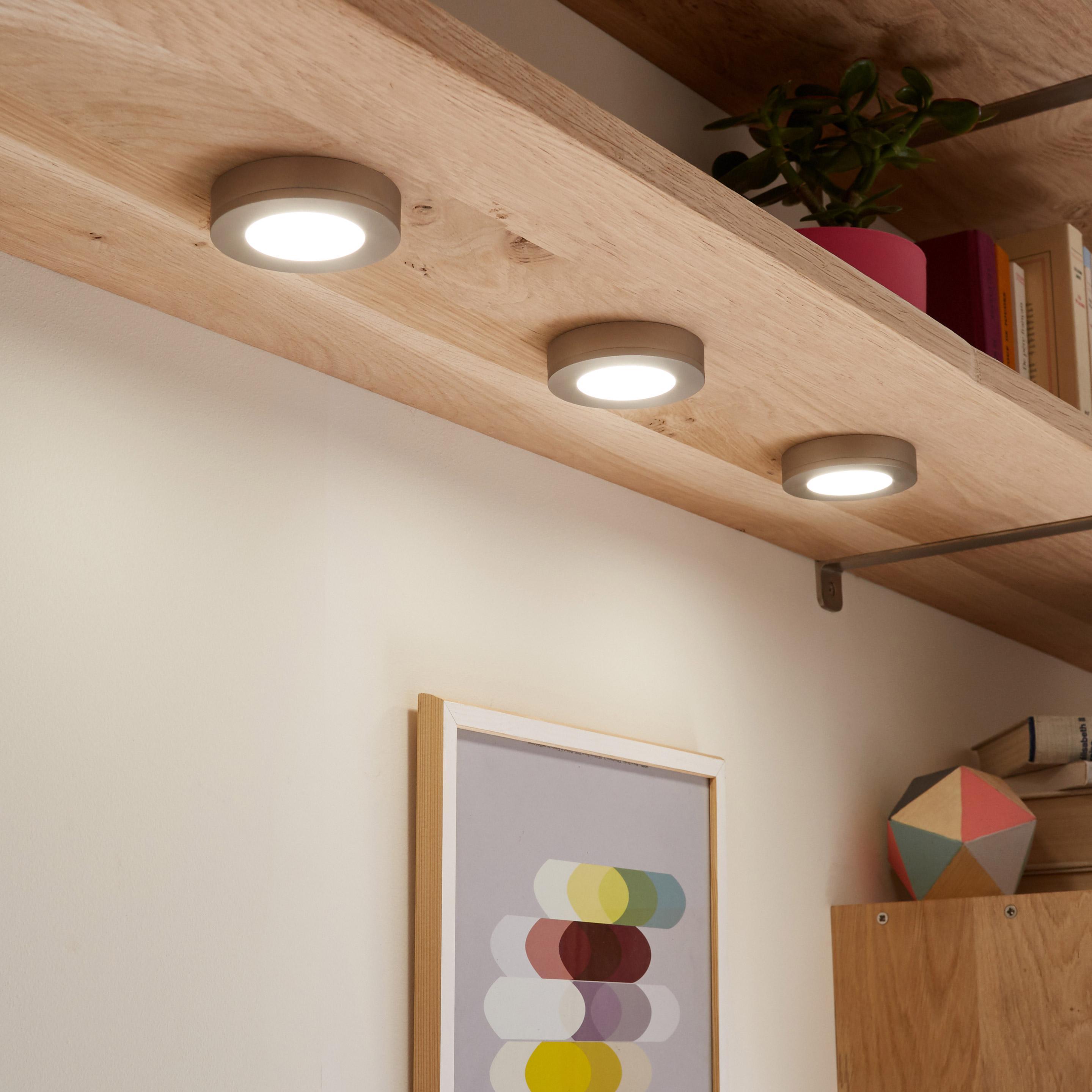 Kit 3 spots à encastrer / fixer LED intégrée Rio, acier, 3 x 2W, lumière blanche