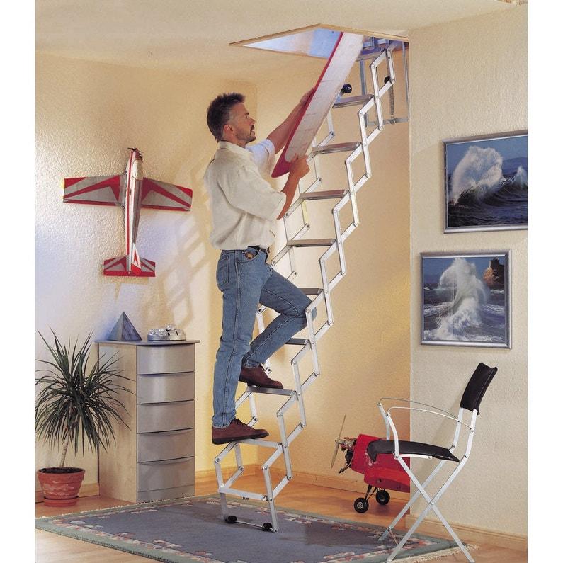 Escalier Escamotable Droit Structure Aluminium Marche Aluminium