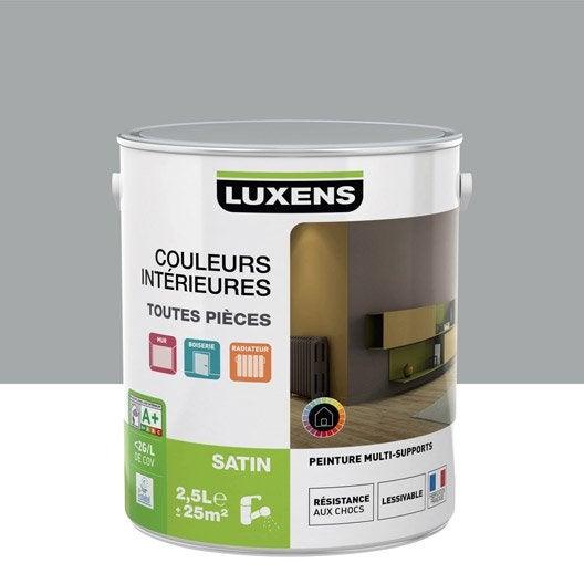 Peinture multisupports couleurs int rieures satin luxens gris galet n 4 2 5 l leroy merlin for Peintures interieures couleurs