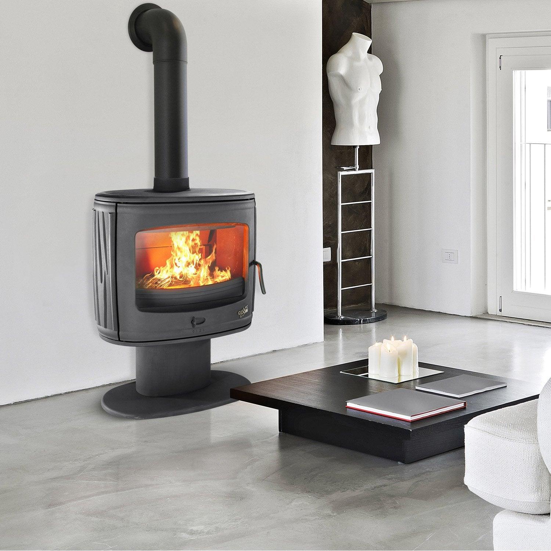 po le bois godin ofali anthracite 7 5 kw leroy merlin. Black Bedroom Furniture Sets. Home Design Ideas