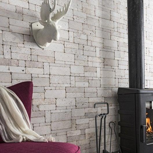 plaquette de parement pierre naturelle ivoire stonepanel leroy merlin. Black Bedroom Furniture Sets. Home Design Ideas