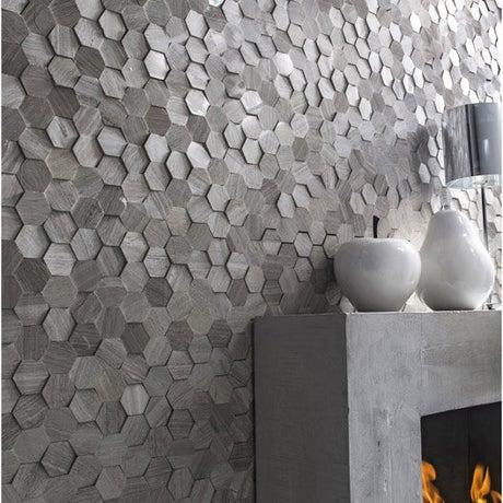 Plaquette de parement pierre naturelle crème Hexagone cottage