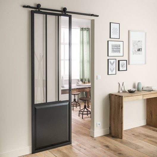 Ensemble porte coulissante atelier mdf rev tu avec le rail for Miroir salon leroy merlin