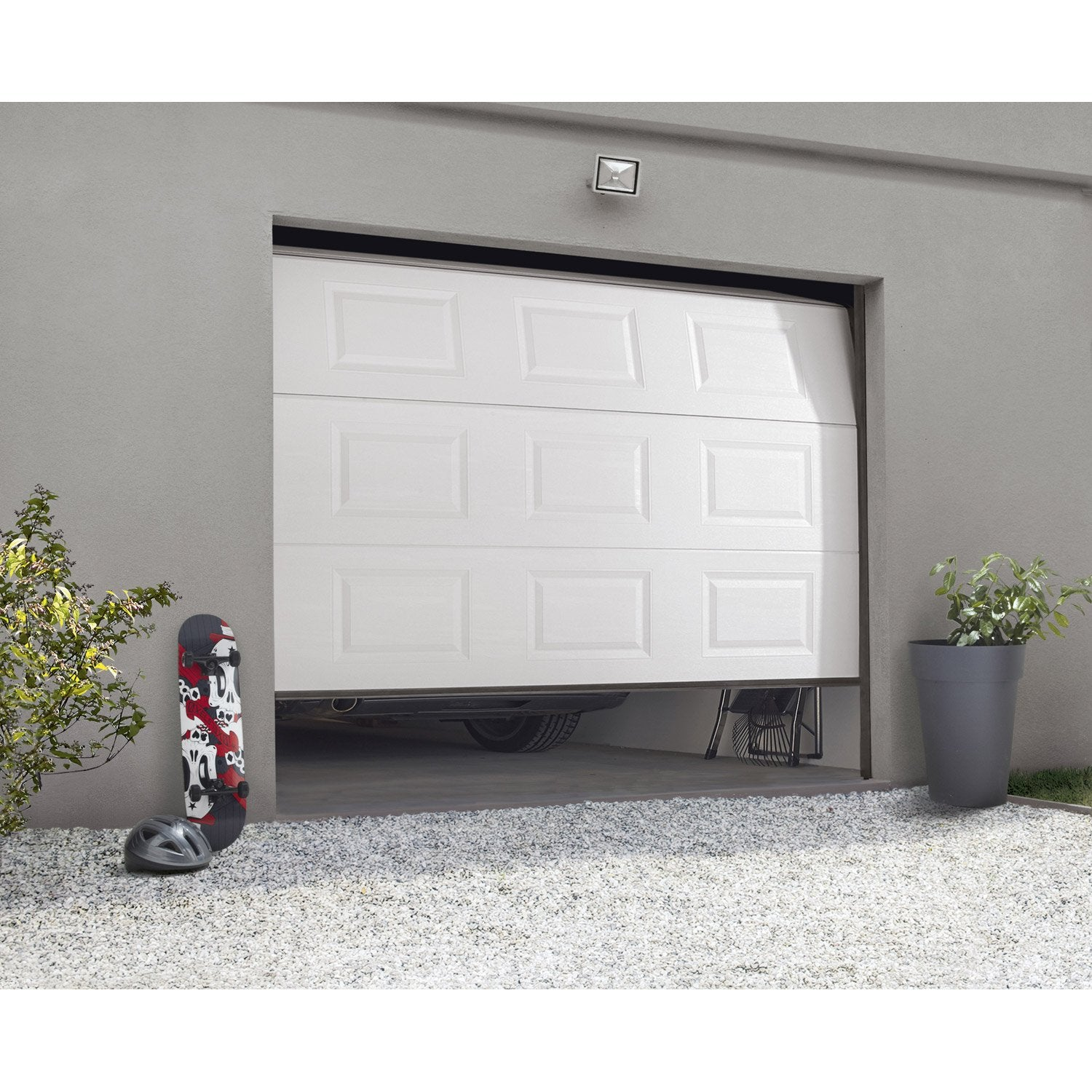 Porte de garage sectionnelle motoris e artens essentiel x cm leroy merlin - Porte de garage sectionnelle ...