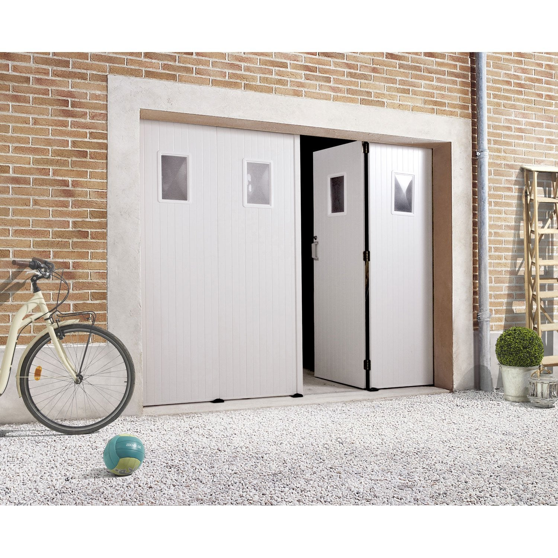 Porte De Garage Au Meilleur Prix Leroy Merlin - Porte de garage sectionnelle avec porte entrée vitrée pvc