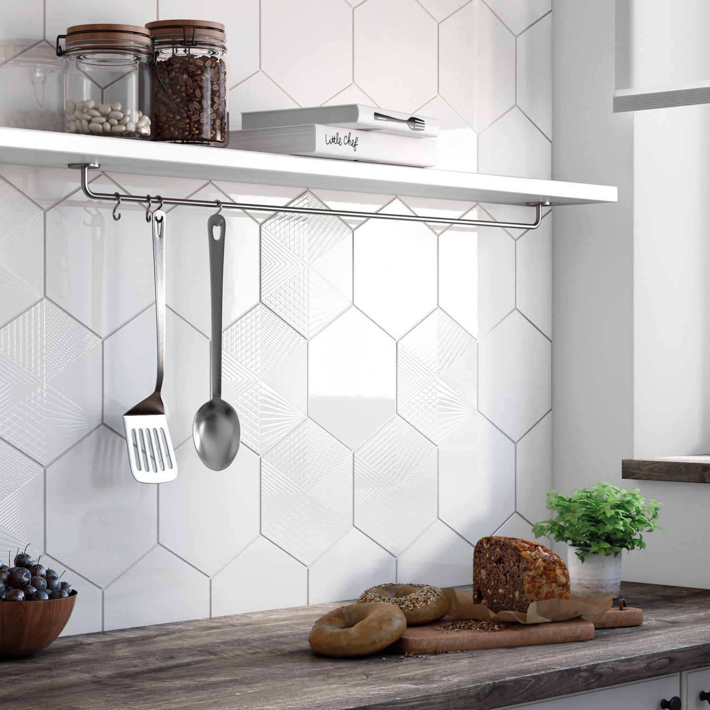 Faïence Mur Blanc Decor Hexa L X L Cm Leroy Merlin - Carrelage hexagonal blanc