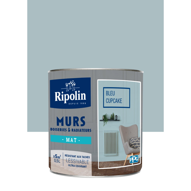 Peinture Ripolin Bleu Cupcake peinture bleu cupcake mat ripolin murs et boiseries 0.5 l