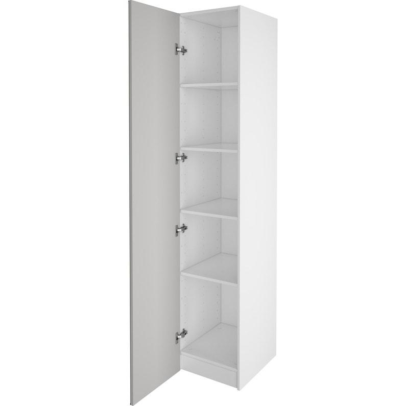 Armoire Spaceo Home Blanc Et Miroir H 200 X L 40 X P 45 Cm Leroy Merlin