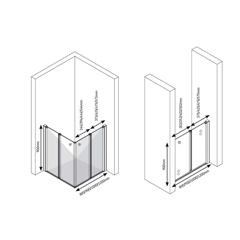 Porte de douche pivot pliante transparent 2pnx 90x90 cm Porte pliante 90 cm transparente