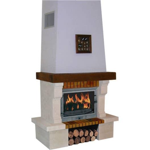 Habillage chemin e en pierre chinvest usine dargemont valserine 195 poutre bois leroy merlin - Relooker une cheminee en pierre ...