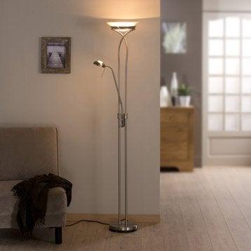 lampadaire avec liseuse eole inspire 180 cm acier bross. Black Bedroom Furniture Sets. Home Design Ideas
