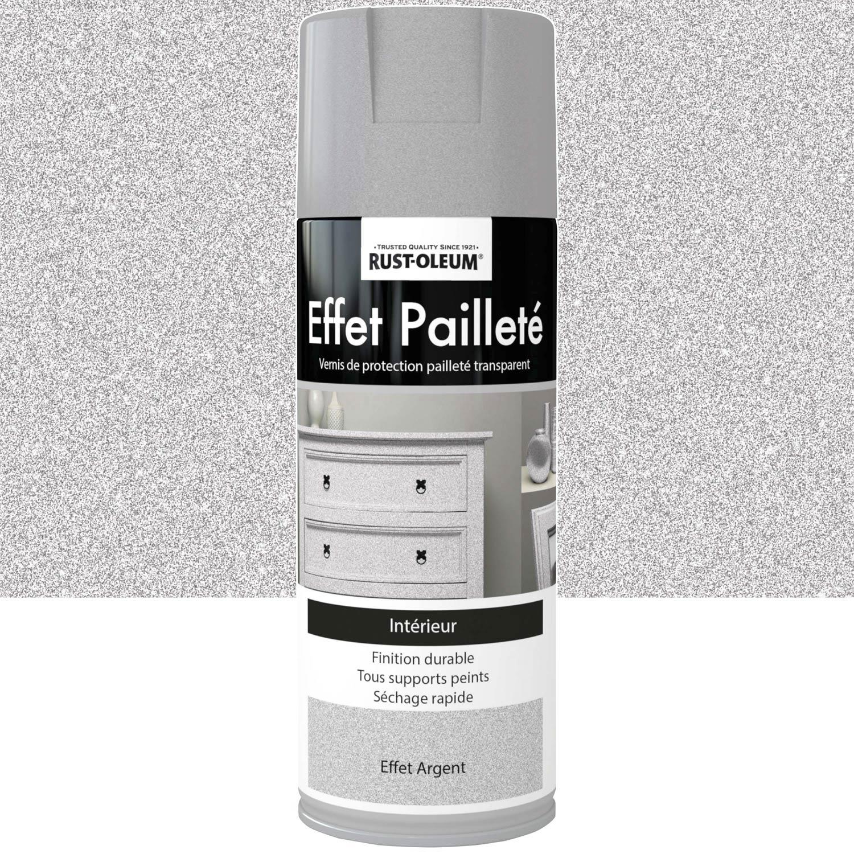 Peinture Aérosol Effet Paillettes Pailleté RUSTOLEUM, Gris Argent, 0.4 L