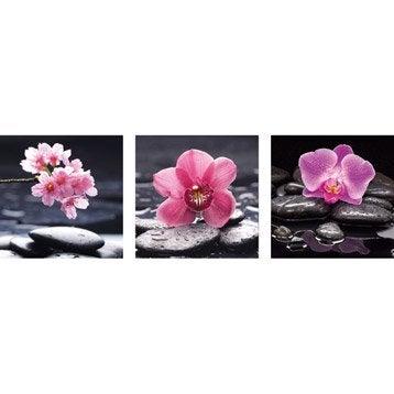 Set de 3 deco glass en verre imprim zen de 30 x 30 cm chacun for Miroir 90x30