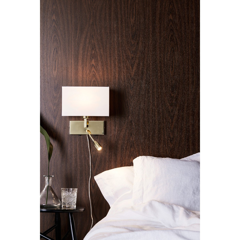 applique avec liseuse design e27 savoy m tal laiton blanc 2 markslojd leroy merlin. Black Bedroom Furniture Sets. Home Design Ideas