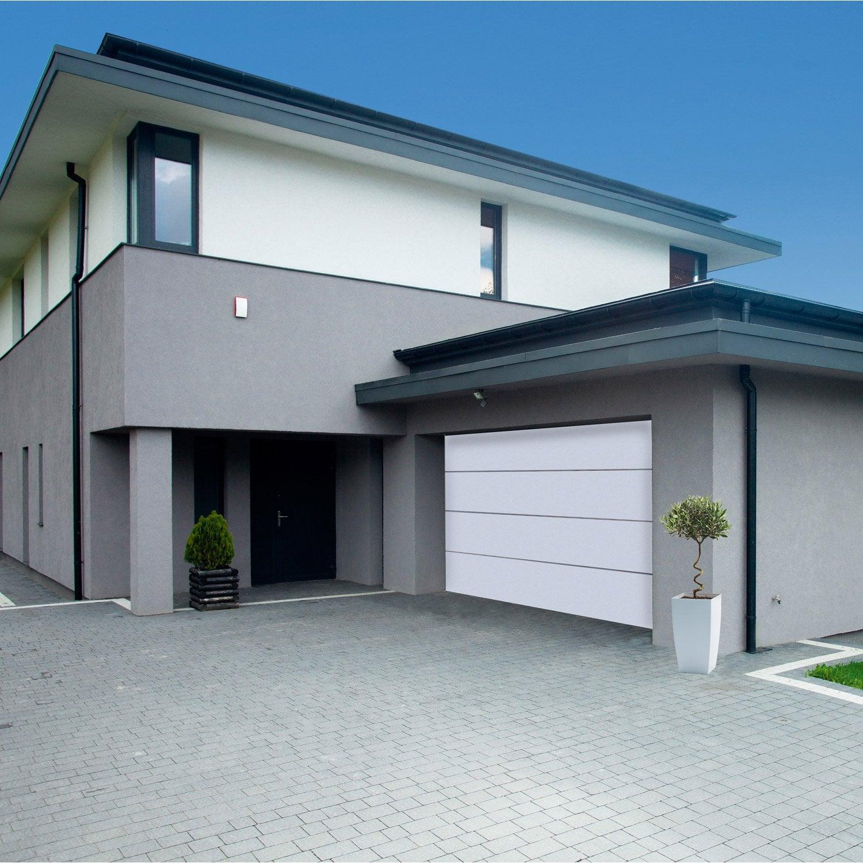 Porte De Garage Sectionnelle Motorisée ARTENS Premium H X L - Porte de garage sectionnelle avec poignée de porte pvc a clé