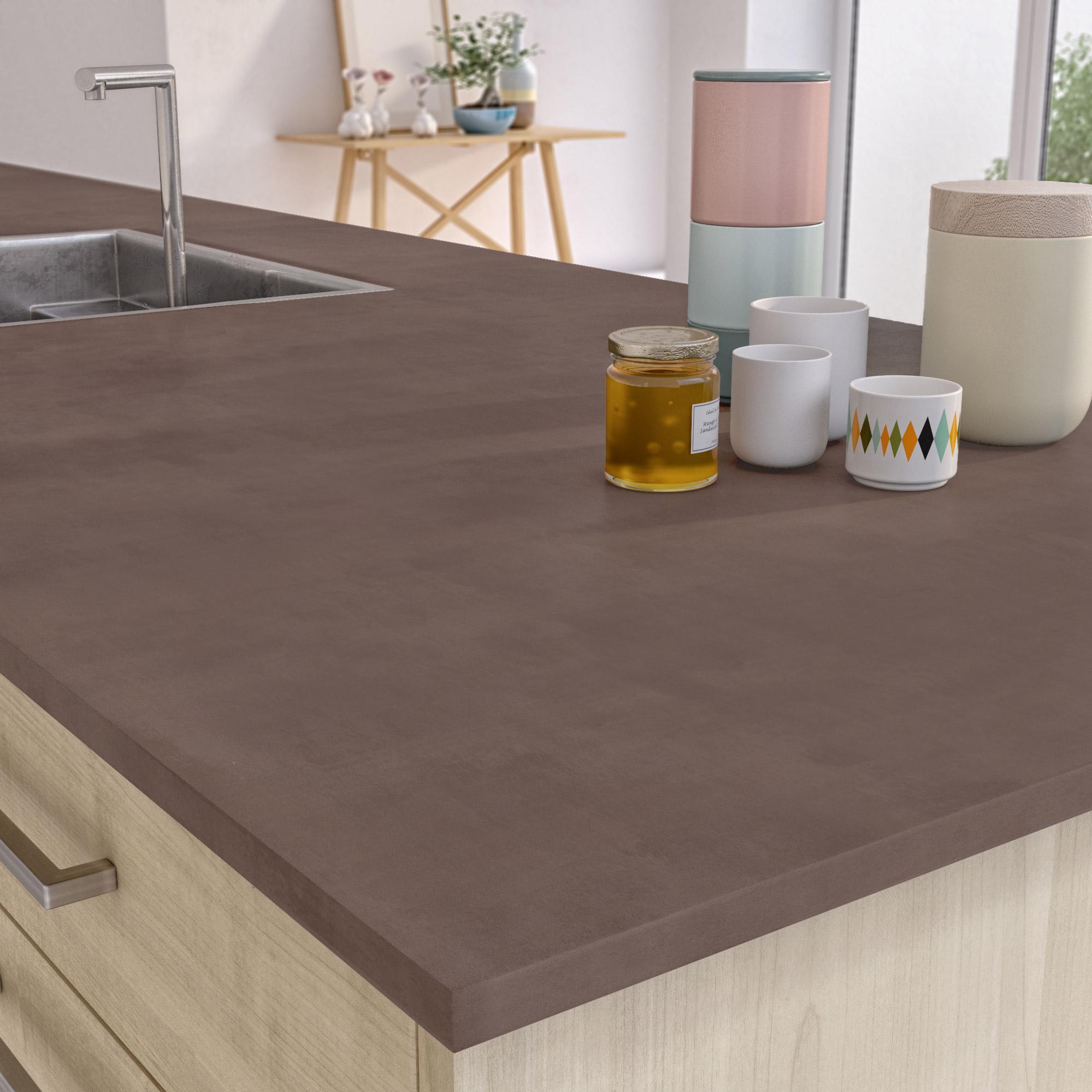 plan snack stratifié beton cire marron mat l.200 x p.40 cm, ep.38 mm
