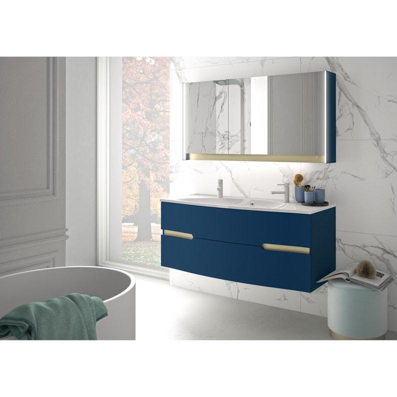 Meuble vasque, Egerie l.129.5 x H.52 x P.51 cm, bleu nuit, Egerie