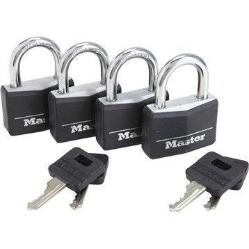 Lot de 4 cadenas à clé MASTERLOCK aluminium, l.40 mm