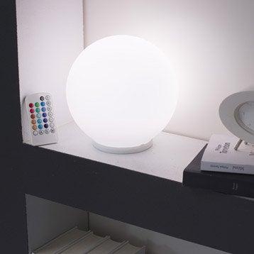 Lampe poser palla verre blanc for Lampe de chevet chez leroy merlin