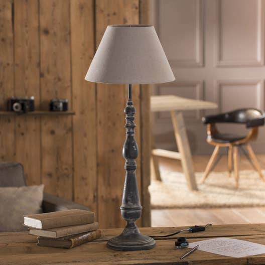 lampe e27 leonie seynave coton gris 60 w leroy merlin. Black Bedroom Furniture Sets. Home Design Ideas