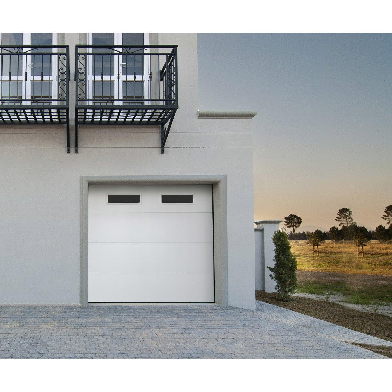 Porte De Garage Sectionnelle Motorisée ARTENS Essentiel X Cm - Porte de garage sectionnelle avec porte d entrée renovation pvc