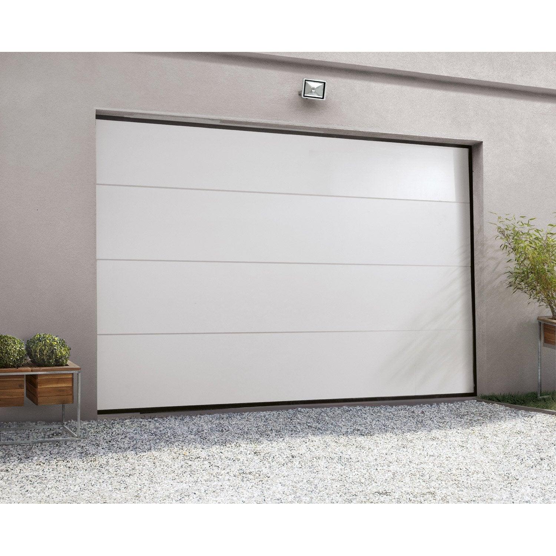 Porte De Garage Sectionnelle Motorisée ARTENS Essentiel H X L - Porte de garage sectionnelle avec porte d entrée en pvc blanc
