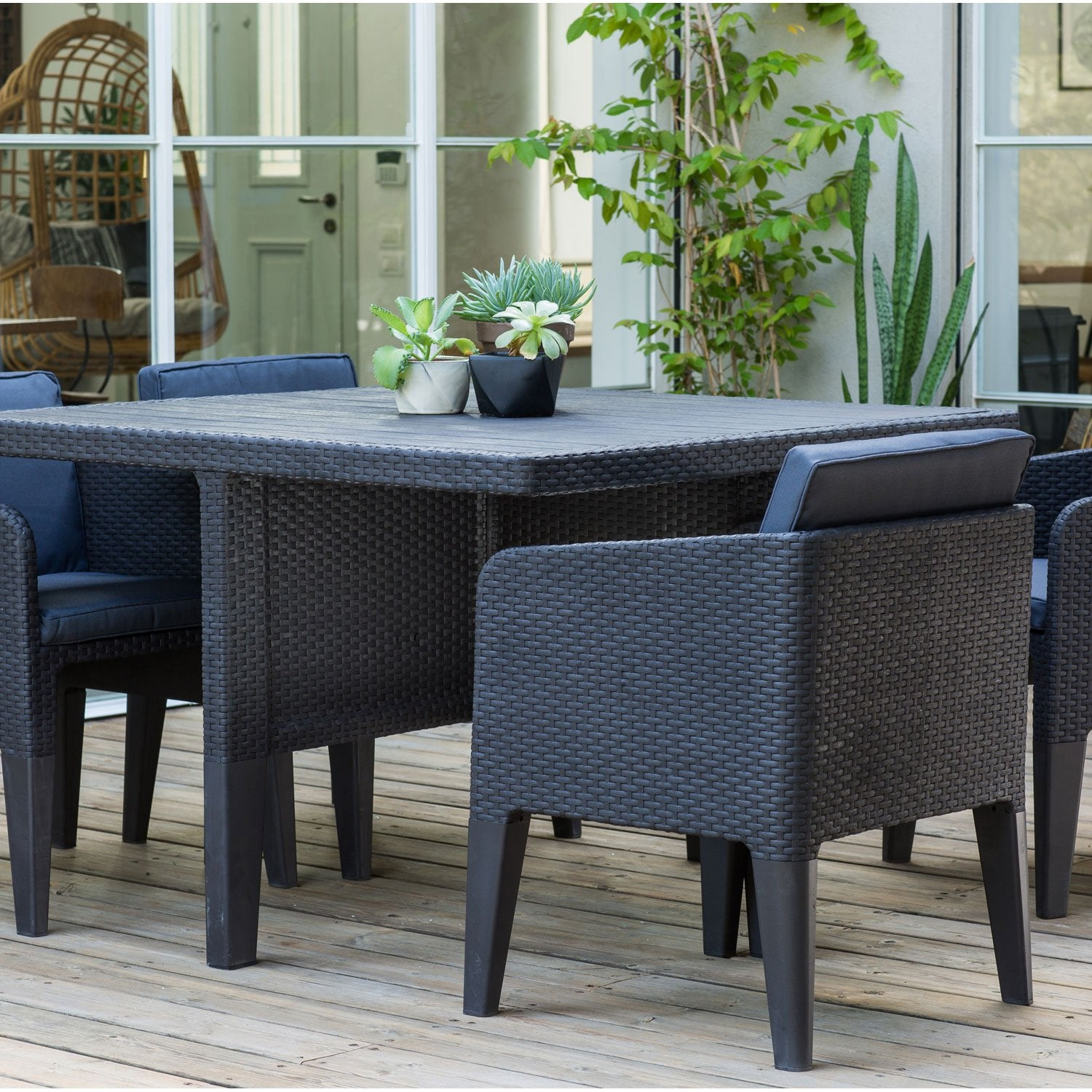 salon de jardin columbia gris anthracite 4 personnes leroy merlin. Black Bedroom Furniture Sets. Home Design Ideas