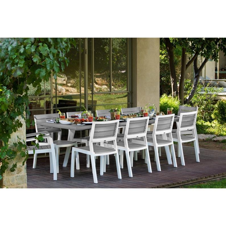 Table de jardin de repas Harmony rectangulaire gris 10 personnes ...
