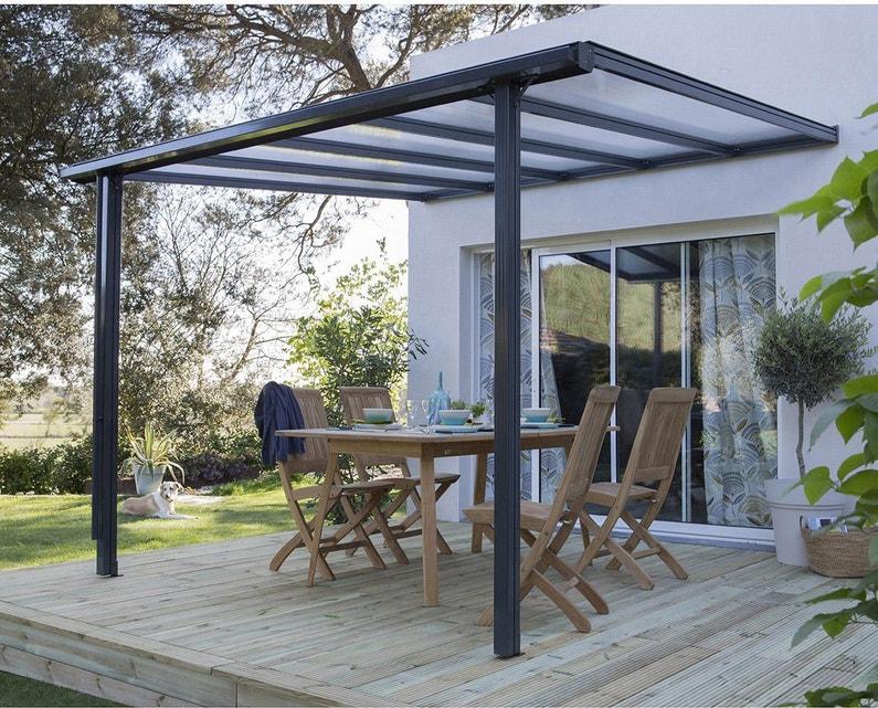 Couverture de terrasse adossée Tradition, aluminium gris, 7.77 m²