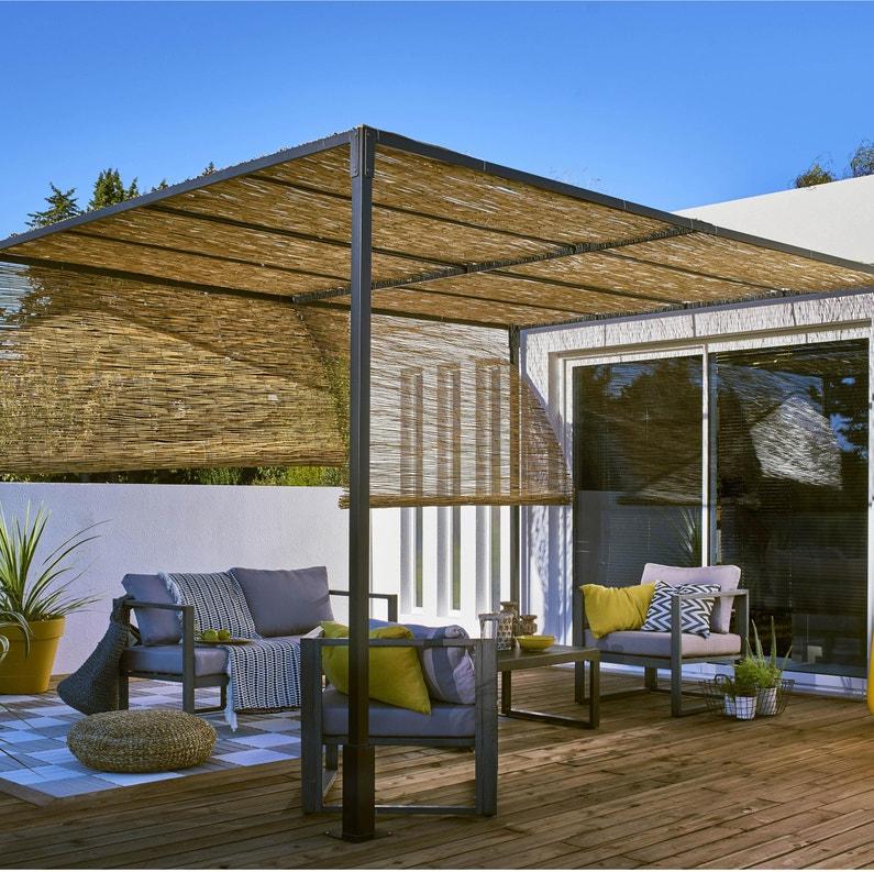 Pergola autoportante sans couverture, acier noire, 12 m² | Leroy Merlin