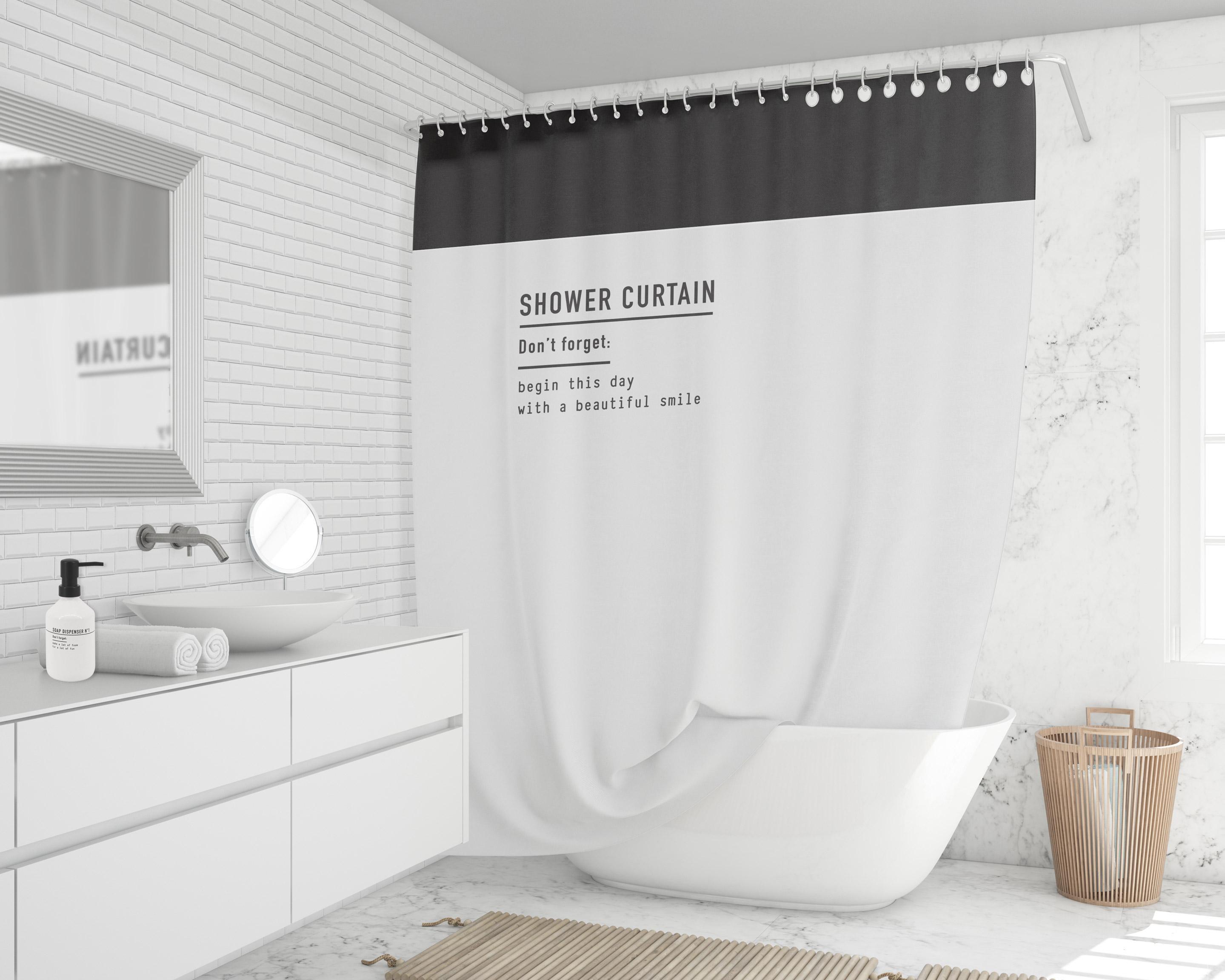 Rideau de douche en textile blanc/noir l.180 x H.200 cm, Garrett SENSEA