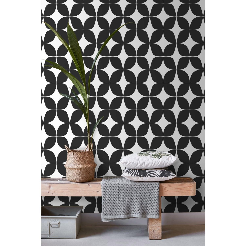 Decoller Papier Peint Intissé papier peint intissé scandicool fleur graphique noir & blanc