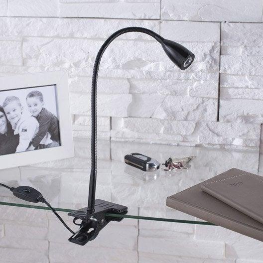 lampe de bureau pince noir led gao inspire leroy merlin. Black Bedroom Furniture Sets. Home Design Ideas