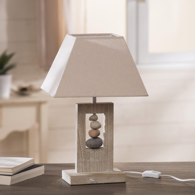 Lampe E14 Cabourg Seynave Tissu Naturel 40 W Lampe De Chevet