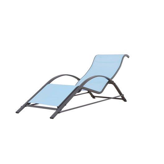 Bain de soleil de jardin en aluminium bleu leroy merlin for Bain de soleil de jardin