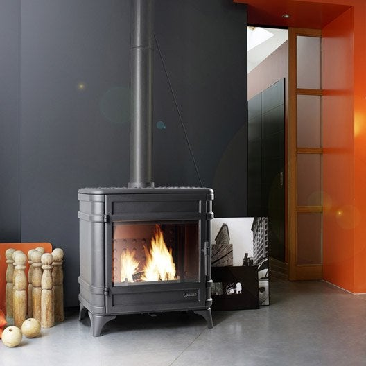 po le bois invicta siam anthracite 6170 44 9 kw leroy merlin. Black Bedroom Furniture Sets. Home Design Ideas