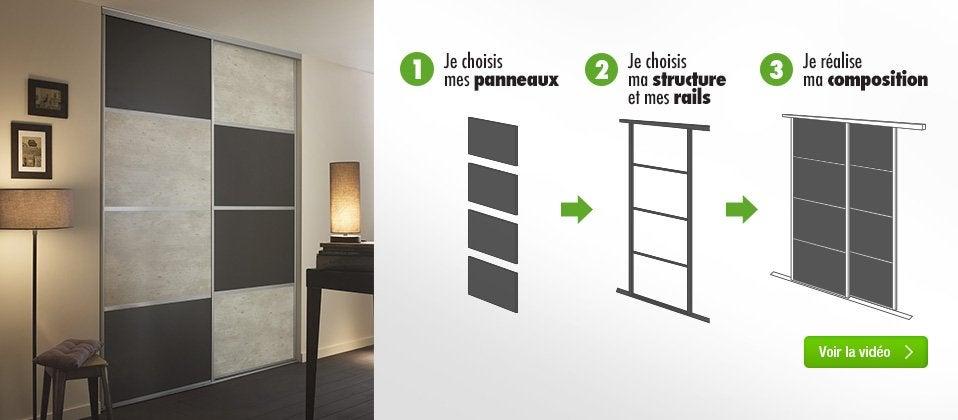 Portes De Placard Coulissantes Miroir Argent  X   Stickers