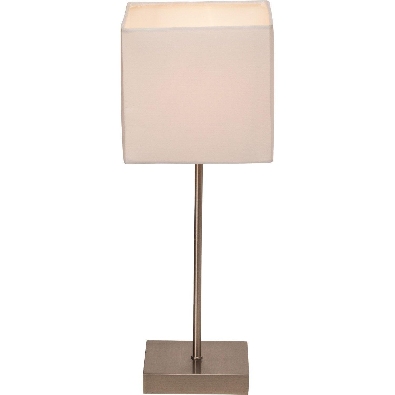 Lampe Tactile E14 Aglae Brilliant Tissu Blanc 40 W Leroy Merlin
