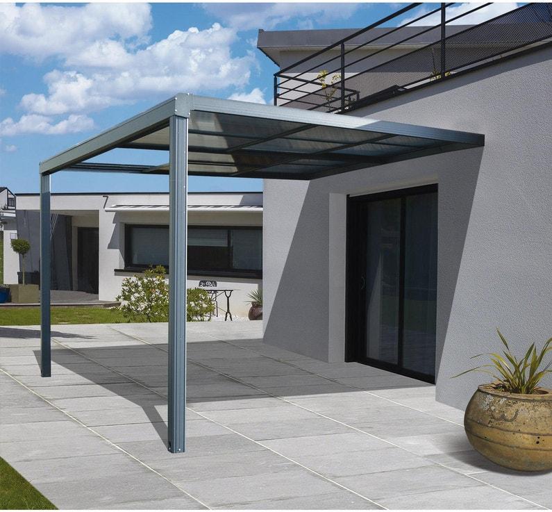 Tonnelle adossée Toscana, aluminium gris anthracite, 12 m² | Leroy ...
