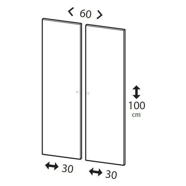 Lot De 2 Portes Battantes Home Blanc Spaceo H100 X L60 Cm