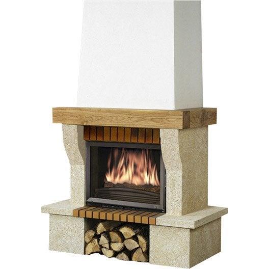 Habillage de cheminée en pierre Ninon poutre chêne ~ Habillage De Poutre En Bois