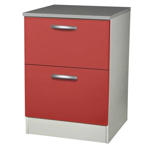 Meuble de cuisine bas 2 tiroirs casseroliers rouge h86x for Tiroir meuble cuisine