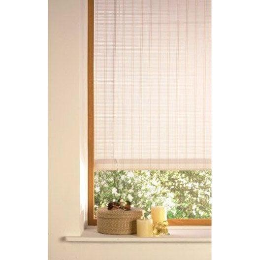 store enrouleur tamisant bois tissé, blanc, 80/90 x 180 cm | leroy